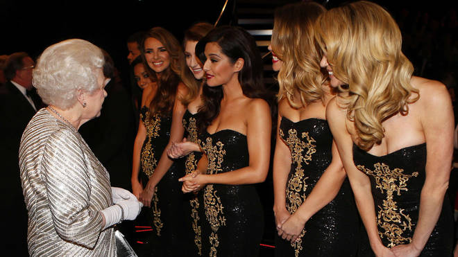 The Queen meets the girls at the Royal Albert Hall in 2012