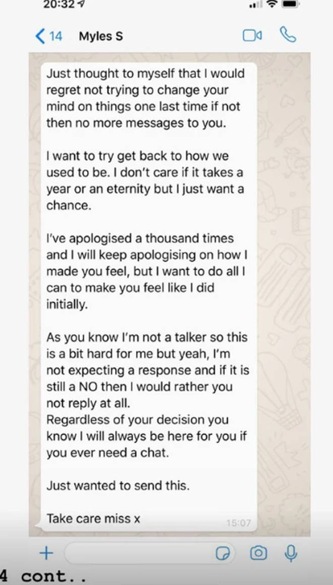 Gabby also shared a screengrab of Myles' apology to her