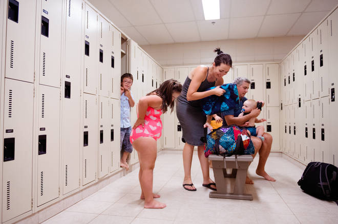 One mum was not happy when she witnessed a man getting naked in a pool changing rooms