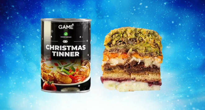 You can buy a 3-course Christmas dinner in a tin - with scrambled egg, Brussels sprouts and mince pies
