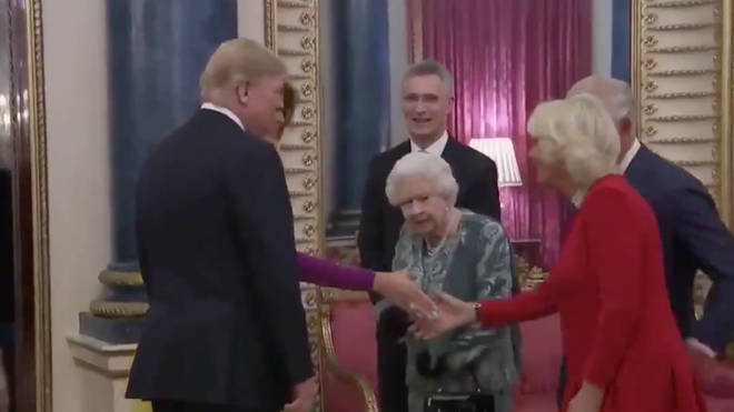 President Trump shook hand with the Queen, Charles and Camilla