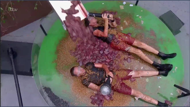 The celebs were pelted with liver during the task