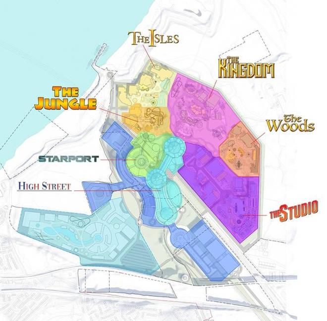 The park is split into six lands