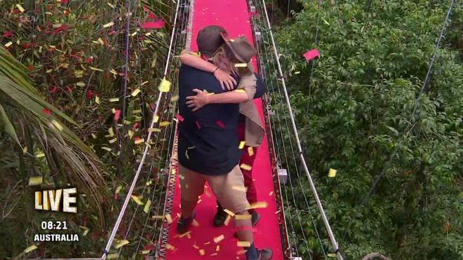 The GMB presenter hugged her husband Derek Draper as she left camp.