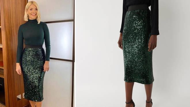 Holly Willoughy's skirt is from warehouse