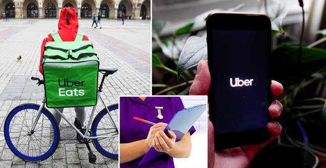 NHS staff can claim free Uber rides or food over the festive period (stock images)