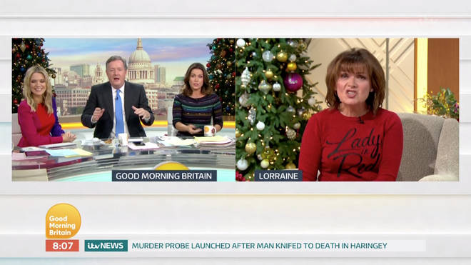 Lorraine Kelly did not hold back as she commented on Piers Morgan's weight