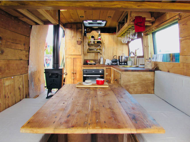 Buttercup is a warm and inviting campervan whose wooden interior is gloriously rustic.