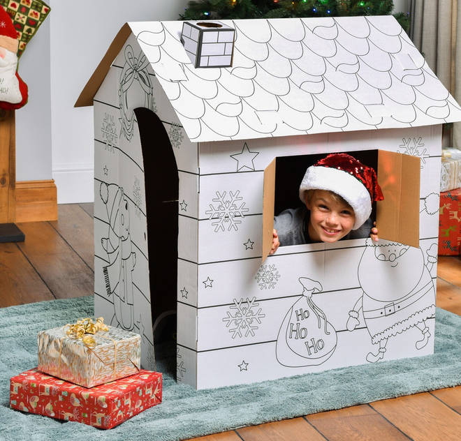 The build your own Santa's grotto will allow you to colour it in and your kid can sit in it