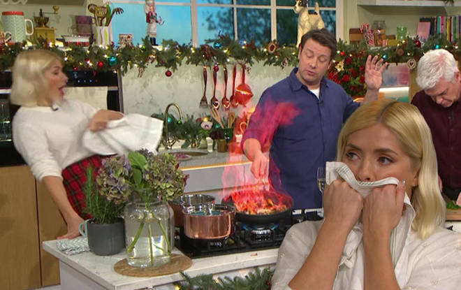 Holly Willoughby swears live on This Morning after Jamie Oliver's pan catches fire