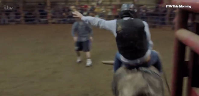Eamonn was questioning Bradley about his show, where he previously rode a bull