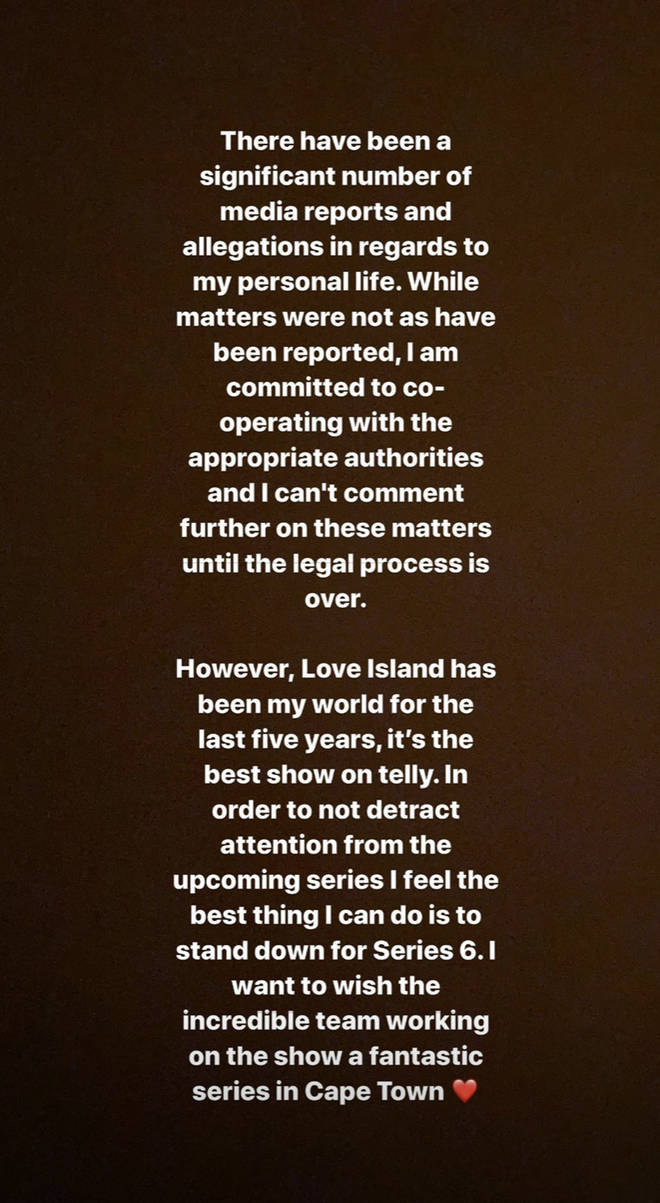 The star posted a statement on her Instagram stories earlier today