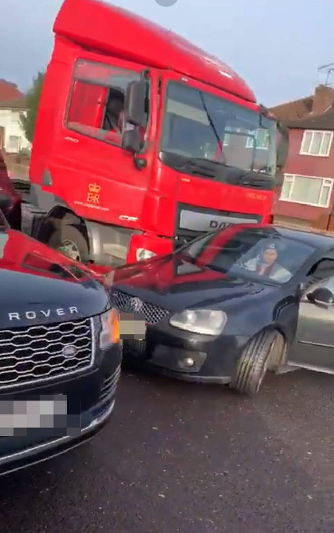 The car was involved in a crash with a huge red lorry
