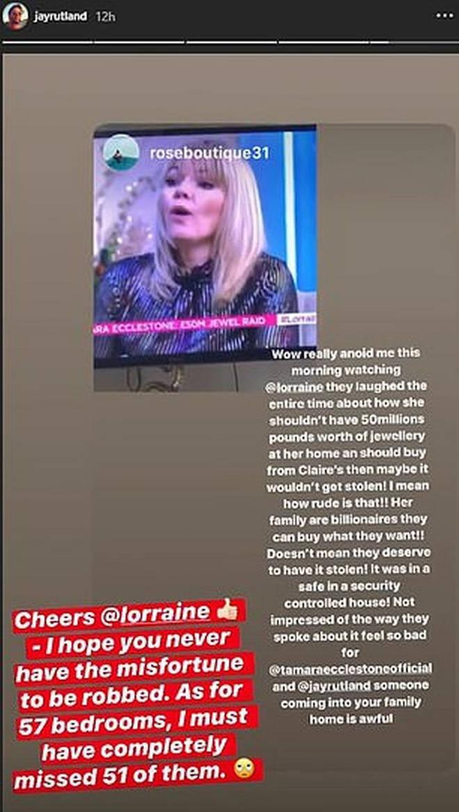 Jay took aim at Lorraine on his Instagram Stories
