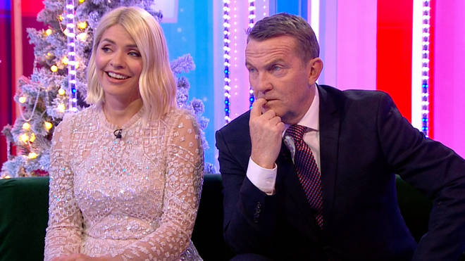 """Holly looked red-faced as she was quizzed about """"difficult co-stars"""""""