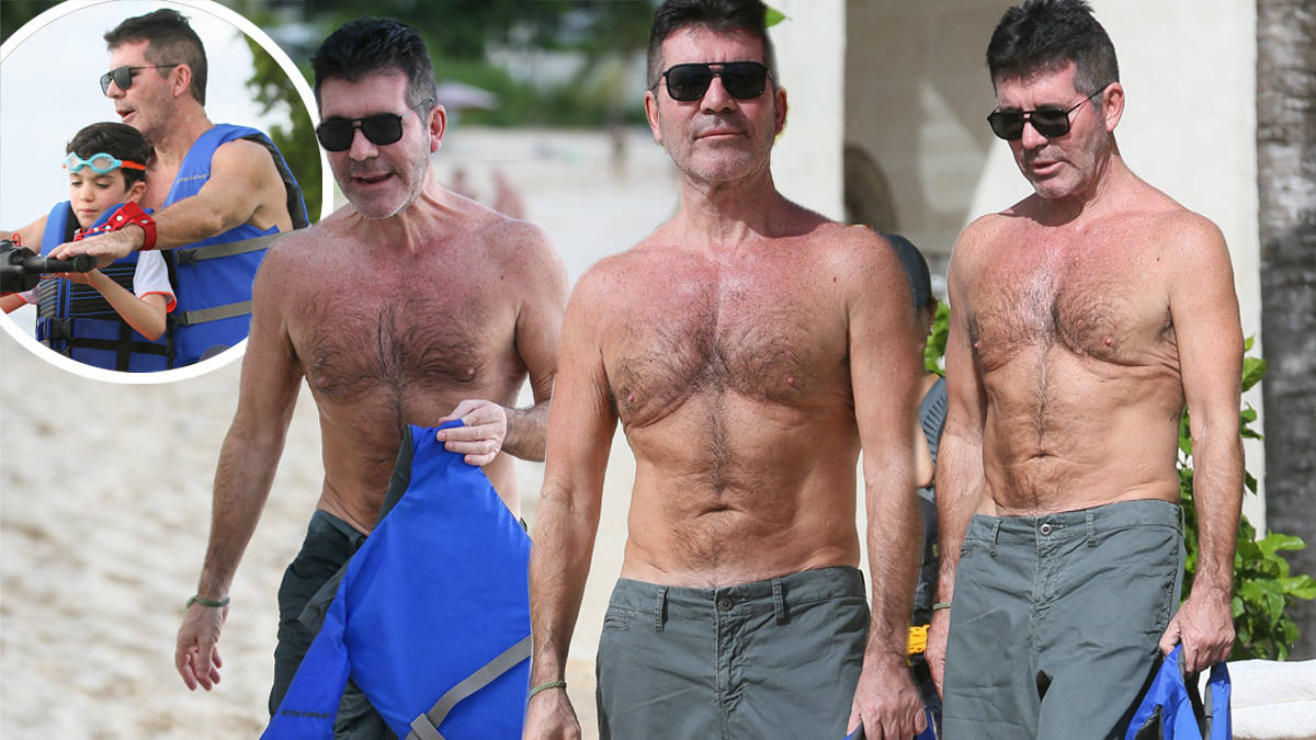 Simon Cowell Reveals Toned Physique On The Beach In Barbados Following Two Stone Heart