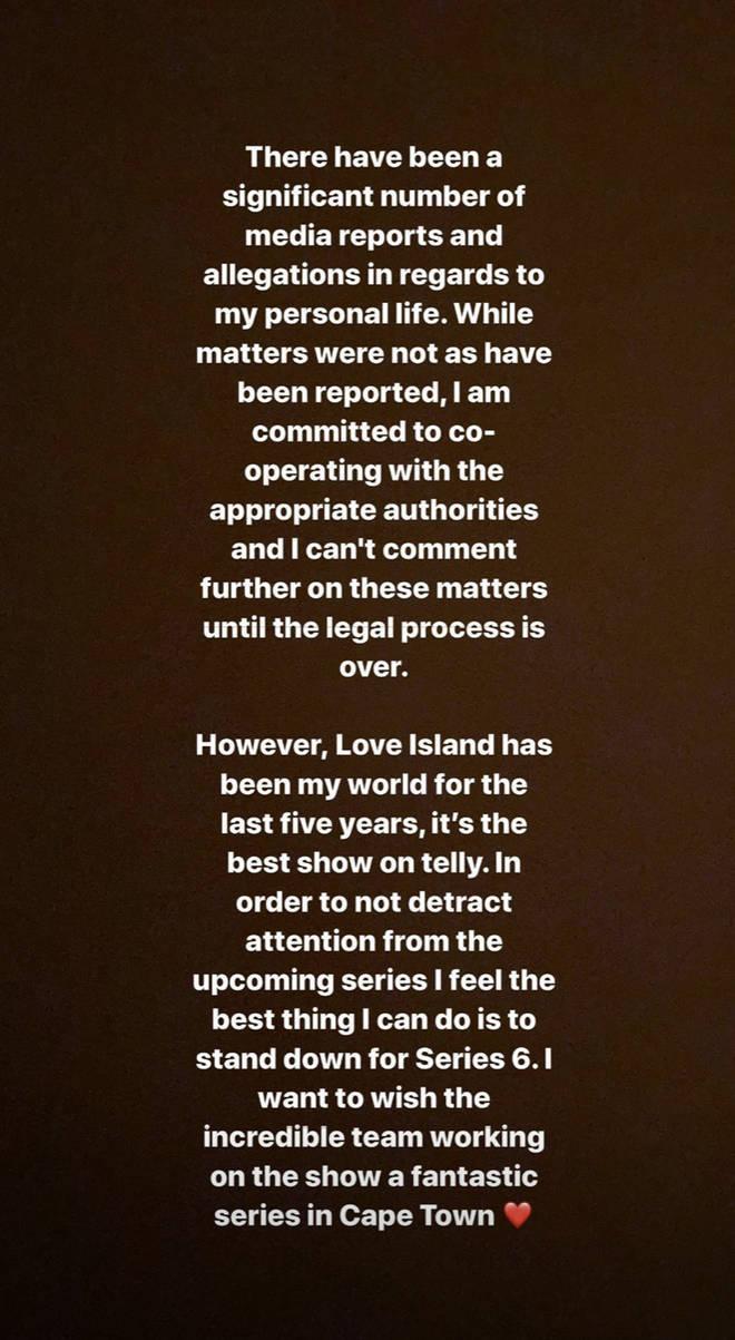 Caroline Flack won't be presenting Winter Love Island