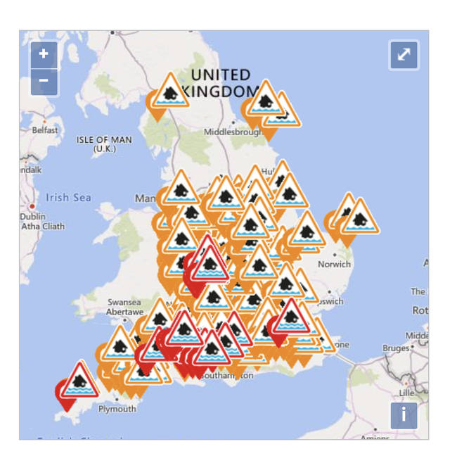 The UK is covered in weather warnings, as flooding is highly likely