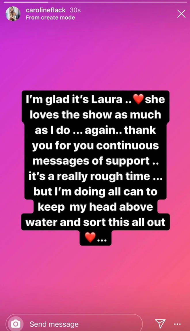 Caroline Flack released a statement following the news Laura was replacing her