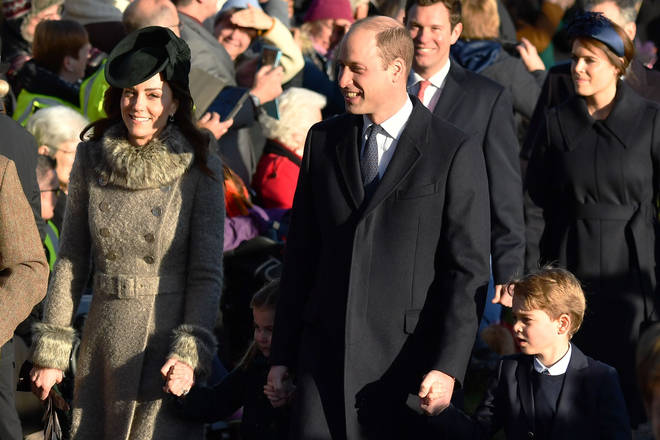 The Duke and Duchess of Cambridge were all smiles as they arrived at church
