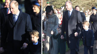 Kate Middleton and Prince William join the rest of the royal family at church in Sandringham for Christmas Day