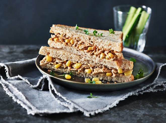 This clever No Tuna & Sweetcorn Sandwich switches out fish for soy protein.