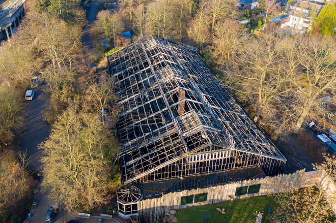 Aerial view shows the burned-out monkey house of the zoo in Krefeld, western Germany.