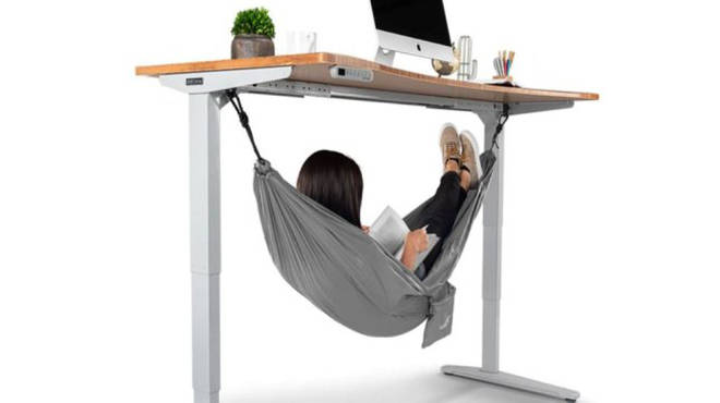 The hammock is designed to clip under the brand's standing desk.