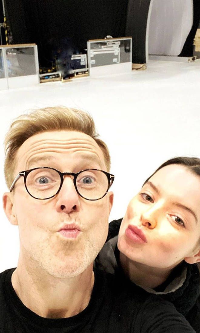 Maura Higgins and H from Steps share a photo from the famous ice rink