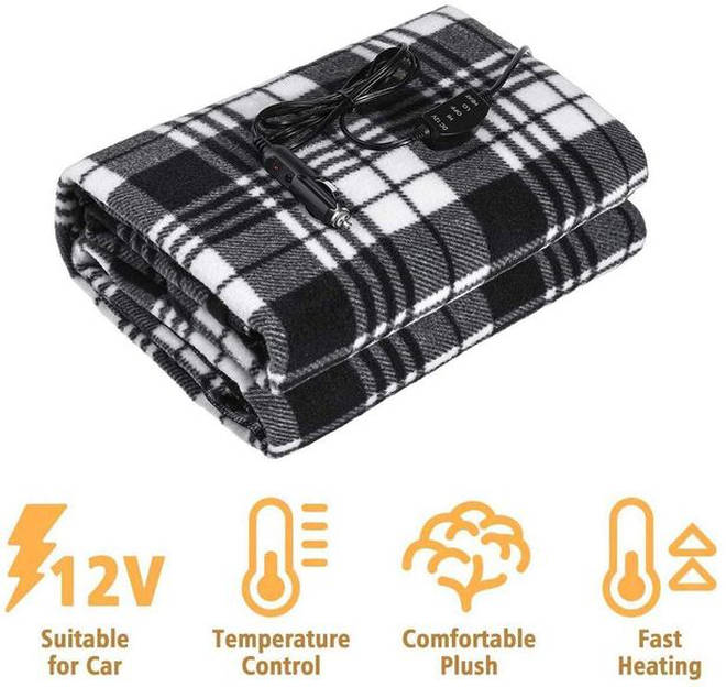 The fleece cover plugs into the car's 12 volt power outlet.