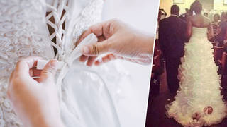 The bride tied her one-month-old to her dress