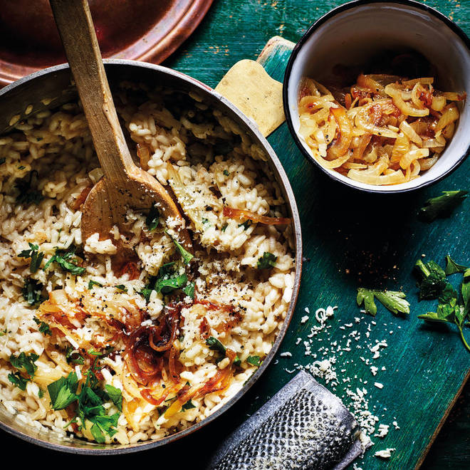 This onion risotto is ideal for a Friday night dinner or girls' night in