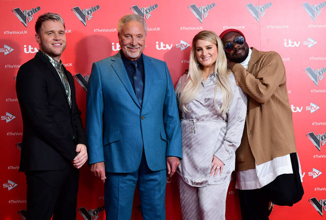 Tom Jones at The Voice judges Olly Murs, Meghan Trainor and will.i.am