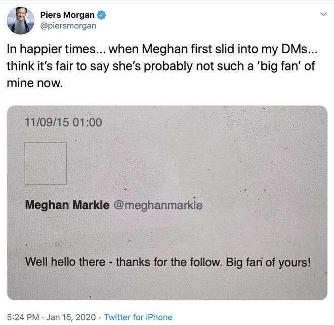 The message Piers shared has been liked over a thousand times