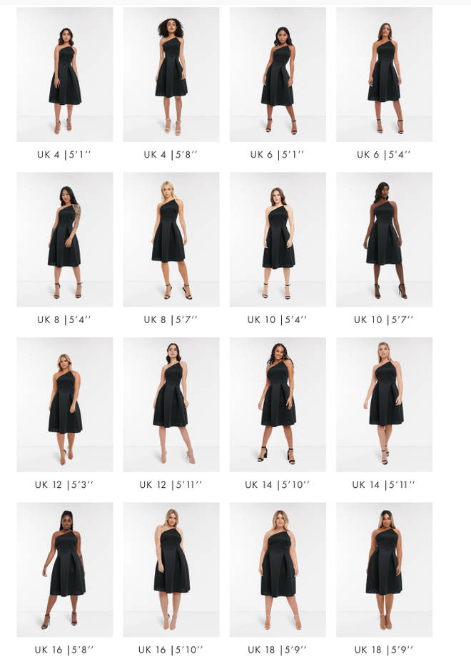 You're able to see the dress in a variety of different sizes