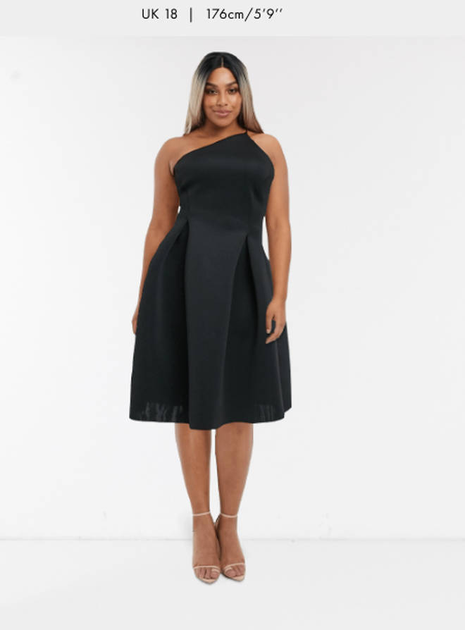 Here is the dress on a size 18 model