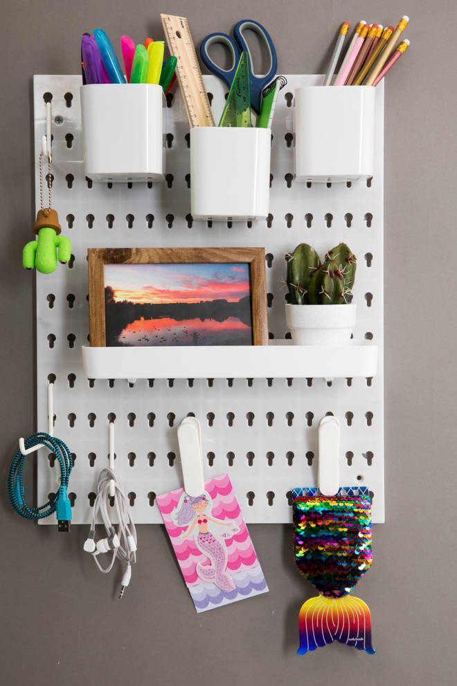 This white peg board is perfect for storing stationery – and is just £2.