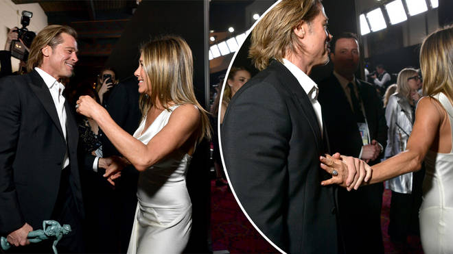 Brad and Jennifer held hands at the SAG Awards last night