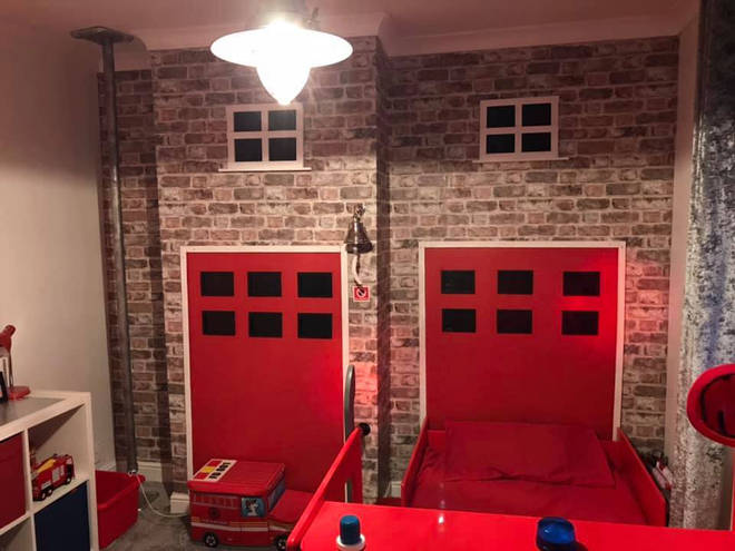 The fire doors and the pole are amazing features in the bedroom