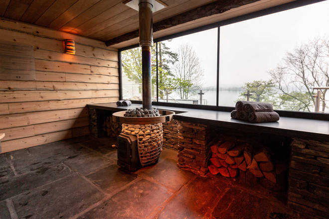 Outside the hotel complex is a stunning sauna with amazing views