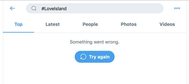 The site won't load Love Island hashtags