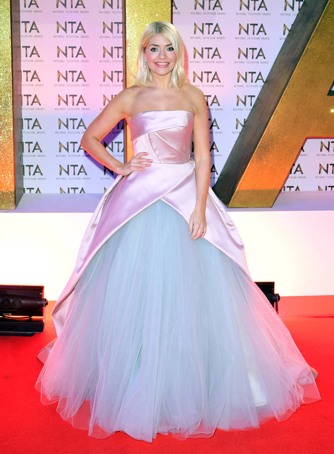 Holly looked incredible in the pink and blue gown