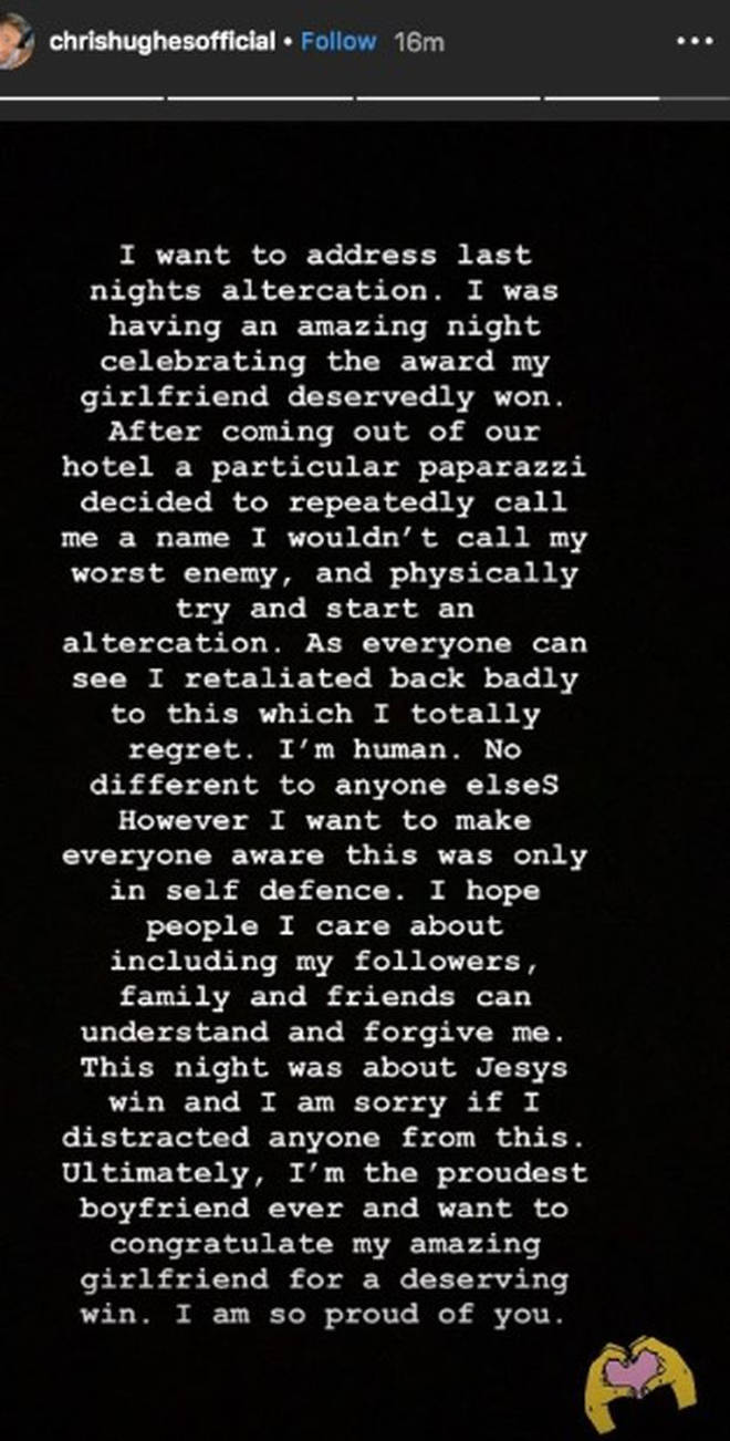 Chris issued an apology on his Instagram stories