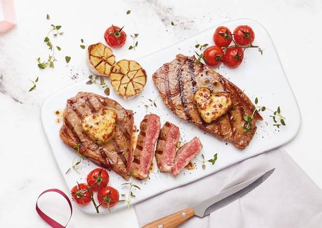 Aldi's steak with pink peppercorn butter