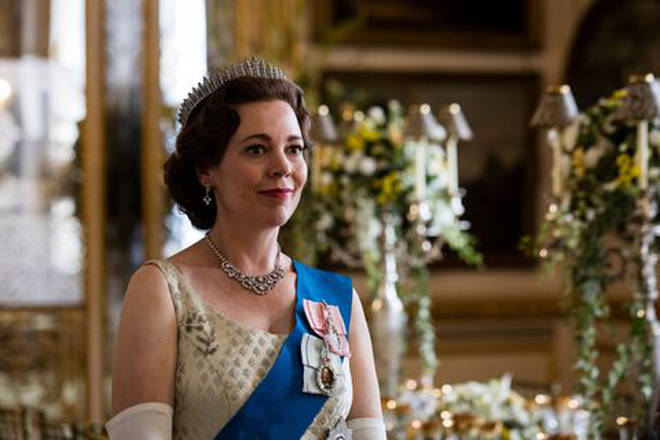 Olivia Colman pictured as The Queen