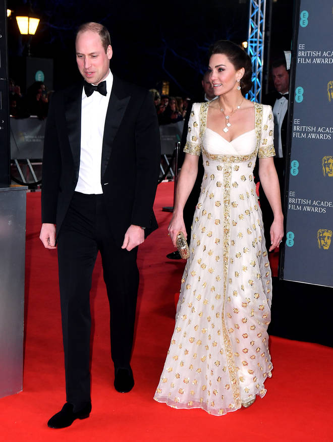The Duchess of Cambridge re-wore the gold and white Alexander McQueen dress