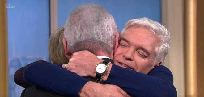 Eamonn and Phil hugged it out, and Ruth joined in