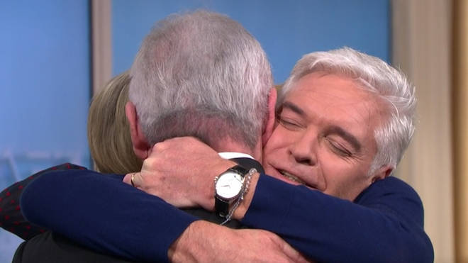 Eamonn Holmes embraced Phillip after his brave announcement on This Morning.