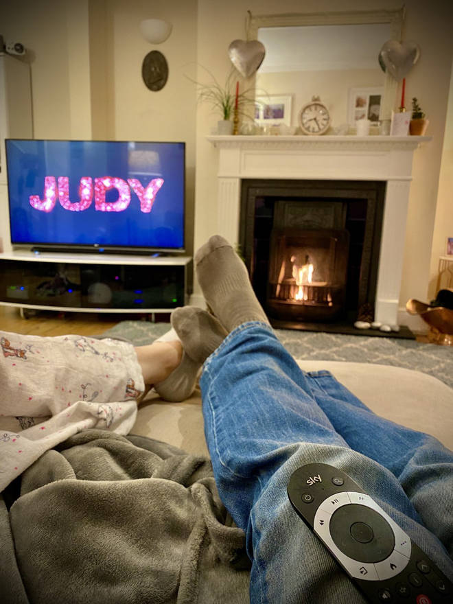 JK and wife Charlie settle down to watch Judy in Sky Store