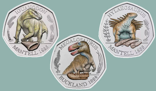 The Royal Mint has released three new dinosaur coins